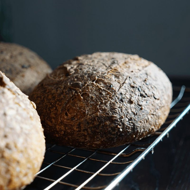 Did you see the photo of my starter from this morning? It has now had time to work its magic and I have three good looking seedy loaves based on Hamelman's multigrain with soaker.  I can't guarantee that these particular loaves will be absolutely delicious, but based on past experience, it is a bet I would be willing to make.  This particular loaf will not be part of the course on 9 June, but the handout will contain the recipe and we will be talking about seeds.