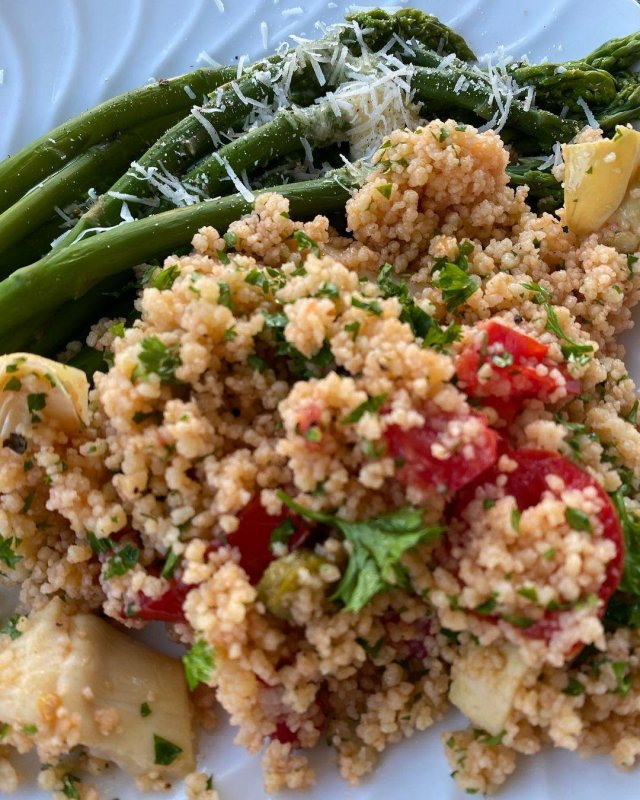 Couscous salad and asparagus, which alas are nearing the end of their season.