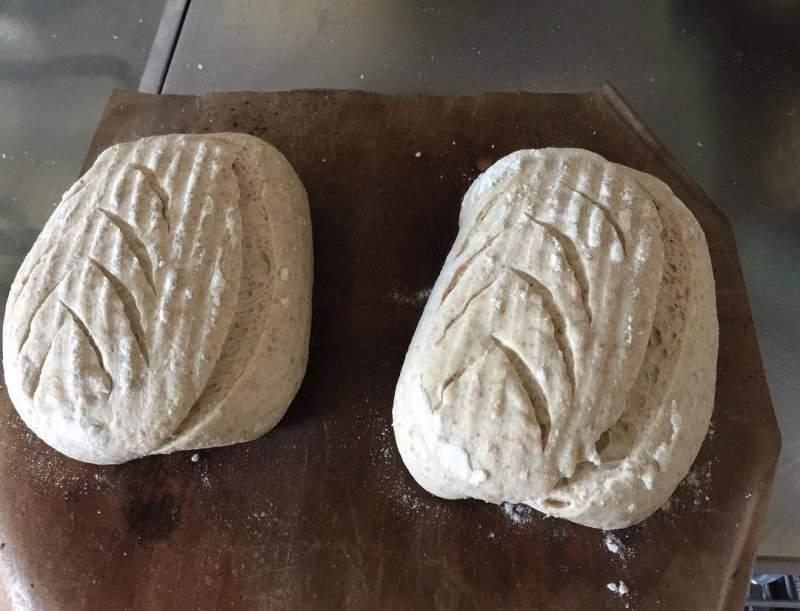 In they go. Rustic Bread.