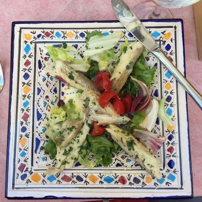 Lunch at Le Garibaldine in Gallipoli. This is marinated mackerel, perfect blend of olive oil and lemon juice.