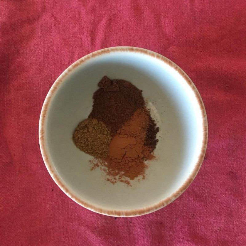 Spices: allspice, cinnamon, cloves, cumin and nutmeg. Half a teaspoon each for 500g of strong flour.