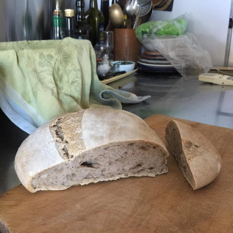 Not exactly a fuckedloaf, because despite the spreading and lack of spring, the structure is good and the taste excellent. I'd say more handsomeisashandsomedoes. My Saracen Special with 15% whole buckwheat. Very tasty.